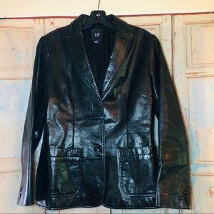 Gap black leather blazer jacket size small